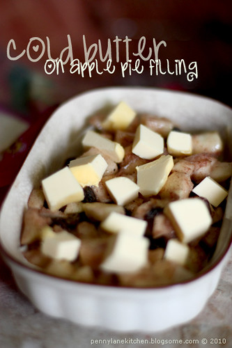 apple pie filling. Cold Butter on Apple Pie Filling