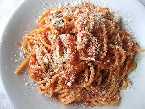 Spaghetti all' Amatriciana at La Conca