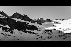 lyell glacier (andykee) Tags: bw snow canon nationalpark panoramic glacier climbing backpacking yosemite 5d lyell 2470 johnmuirtrail