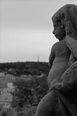 """Regard dans le vague... (Frank """"cisd"""" - Visiting the Past) Tags: statue canon prague jardin praha nb chateau flou regard 550d"""