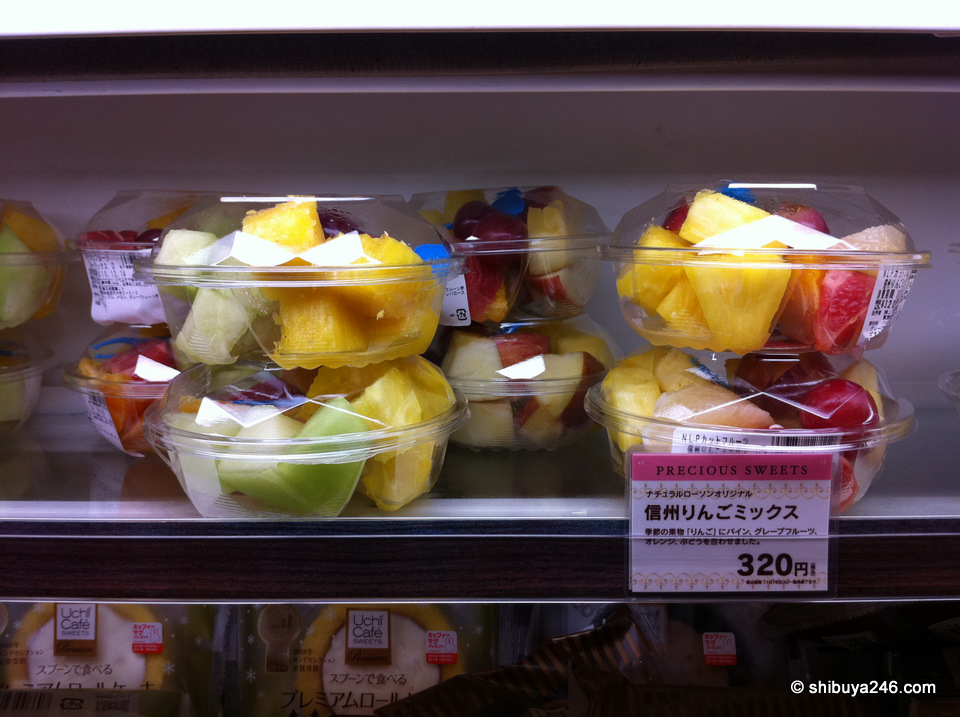 Recently I have been getting my fruit packaged from the conbini. Pineapples, apples and kiwi