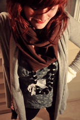 sters (madi_moon) Tags: red brown white black girl scarf hair circle hearts photography grey necklace outfit nikon arm boots head gene shaved style lips bow lipstick wardrobe warmers cardigan madi d90 rieck fritzke