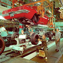 1969 Pontiac Firebird Assembly Line (coconv) Tags: pictures auto old red art classic cars 1969 car illustration vintage magazine advertising cards photo flyer automobile post image photos antique album postcard ad picture images line tires advertisement vehicles photographs 350 card photograph 400 postcards firebird vehicle pontiac autos chassis collectible 69 collectors brochure coupe automobiles dealer assembly prestige