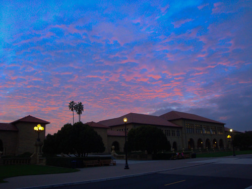 Salmon-pink clouds over Stanford