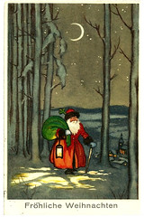 1914 German Christmas Postcard (MomentsBeingMe) Tags: santa christmas trees moon snow germany postcard german fatherchristmas moonlight ww1 1wk 1914 christmascard postkarte christmaspostcard frohlicheweihnachten