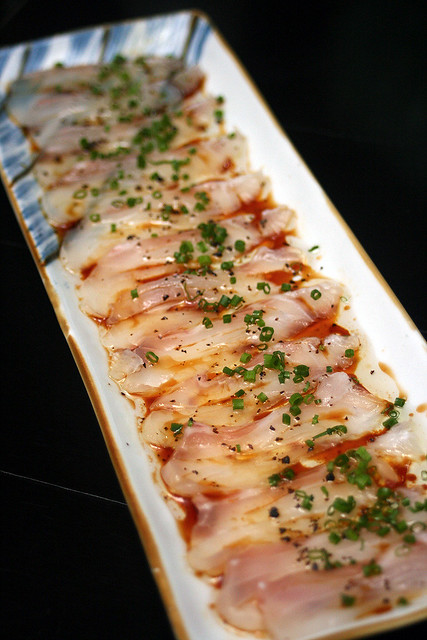 Tai Carpaccio with truffle dressing and shio konbu