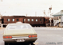 Red Hen, 1977 (baytram366) Tags: road ford car vintage lights crossing traffic north railway class retro signals 400 falcon adelaide 300 rare xb sar sta redhen semaphoresignal signalcabin boomgates southaustralianrailways statetransportauthority