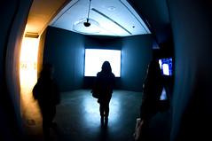 Len Lye (EganM11) Tags: blue light colour silhouette yellow square birmingham nikon gallery place projectors low ikon len screens lye brindley d90 oozels