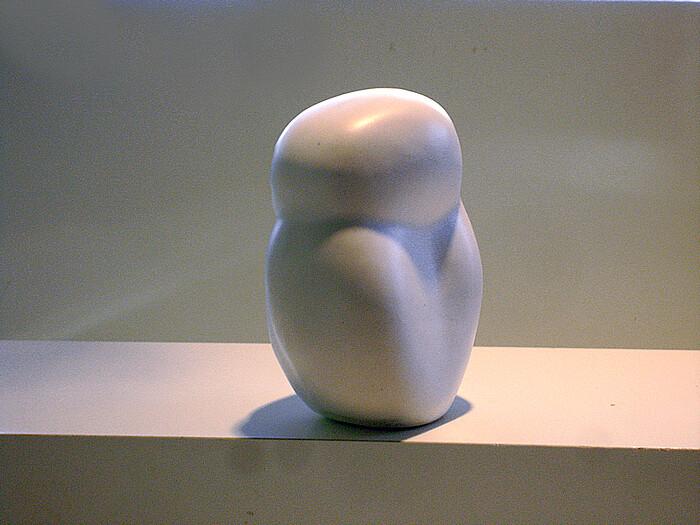 Pottery Sleepy Owl Sculpture back view