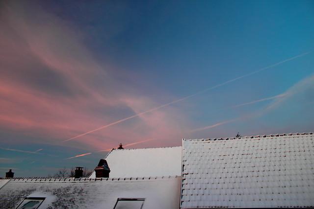 Couché de soleil sur l'Yonne neigeuse