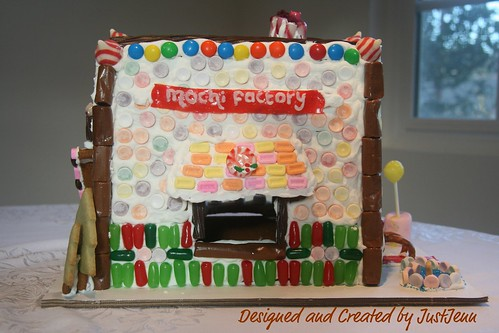 "JustJenn's ""Mochi Factory"" Gingerbread house"