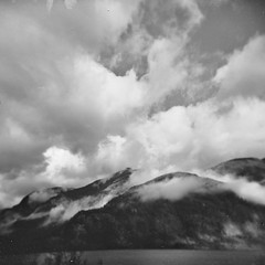 Lake, Hills and Clouds (jamalrob) Tags: bw canada film vancouver island holga britishcolumbia