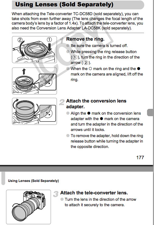 Attaching Tele-converter TC-DC58D and Conversion Lens Adapter LA-DC58K, as documented on pages 177 and 178 of the Canon G12 Manual
