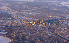 Minneapolis Overview (MSPdude) Tags: roof lake snow minnesota skyline canon river mississippi frozen dusk minneapolis aerial powershot collapse metrodome s5is