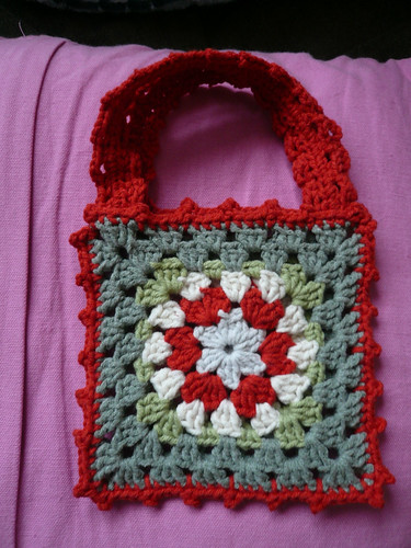 Granny Square bag - red and green