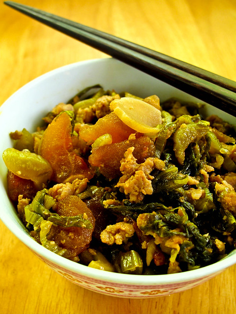IMG_1549 Stir Fried Salted Vegetable with minced Pork , 咸菜炒猪肉
