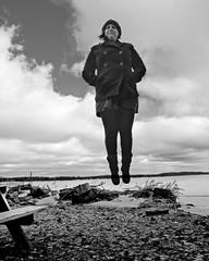 2/365 2011.1.02 (Meg.M) Tags: winter blackandwhite lake selfportrait me myself jumping levitation hss project365 i 2011yip 3652011