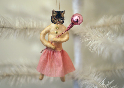 Spun Cotton Cat Ornament Dressed in Pink