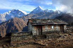 Yak Herder's House Early Morning (Rob Kroenert) Tags: morning nepal yak sky house mountains stone clouds sunrise trekking trek ridge annapurna himalayas herder herders khopra khopraridge