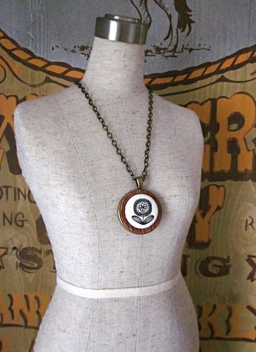 Woodgrain Button Necklace on Dress Form