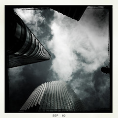 Staredown (Jeremy Brooks) Tags: sanfrancisco california sky blackandwhite bw usa building architecture clouds blackwhite iphone sanfranciscocounty hipstamatic