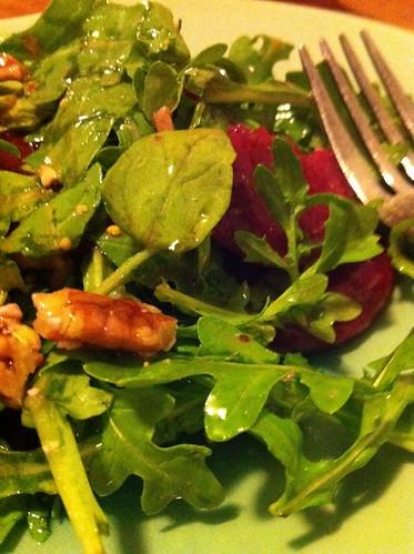 Greens + beets + pecans salad