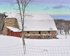 """Fieldstone Barns of Antrim""  Antrim County,  East Jordan Michigan (Michigan Nut) Tags: usa snow tree ice clouds fence geotagged photography silo recent antrimcounty fieldstone historicbarn eastjordanmichigan michigannut"