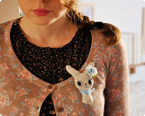 Handmade bunny brooch