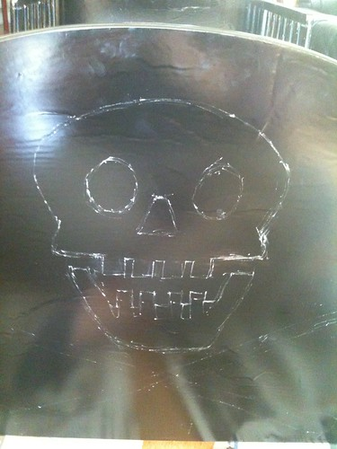 First Jolly Roger outline in chalk
