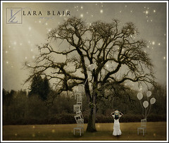 Winter Dreams (Lara Blair Images) Tags: trees light composite dark balloons chairs sparkle winterscene whiteballoons spookyforest thelightvsdark