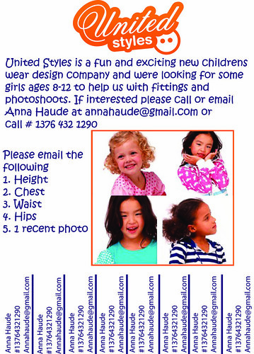 United Styles looking for girls 8-12 for photoshoots