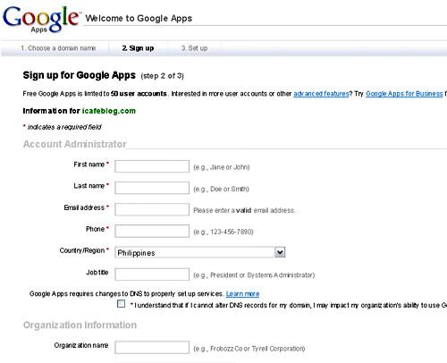 Google Apps sign up form - blankpixels.com