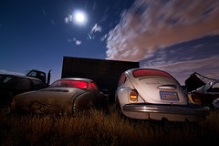 Midnight Matinee (TakenPictures) Tags: auto nightphotography lightpainting classic car clouds vintage bug automobile desert beetle automotive fullmoon junkyard ghia volkswagon karmann worldcars hollywoodrentals