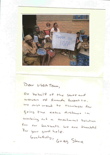The thank you note (with photo) USDA received from the Rwanda Basket Company