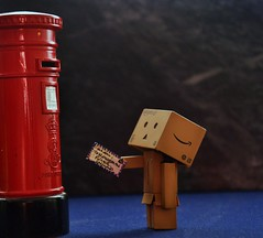 LETTER TO A FRIEND (weasteman) Tags: red england toy amazon nikon friend flickr elizabeth post mail postoffice royal stamp letter postbox regina gpo mailman postman airmail snailmail pillarbox danbo amazoncojp nikond90 danboard weasteman projectdanbo