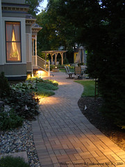 Interlocking Clay Paver Patio and Walk with Low-Voltage Landscape Lighting