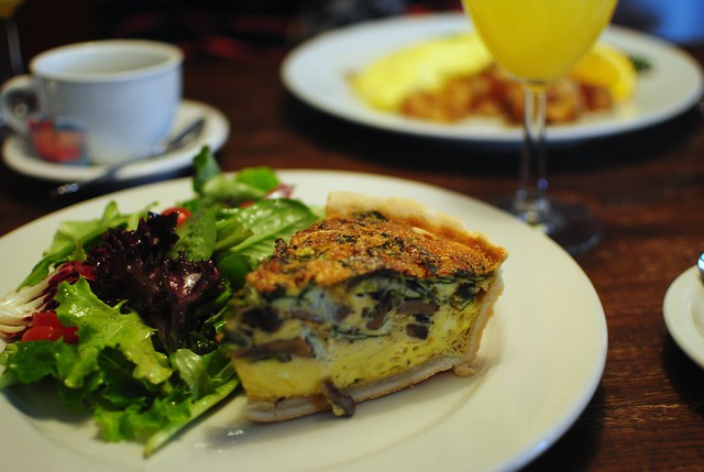 quiche, tres french, with simple salad and mimosa