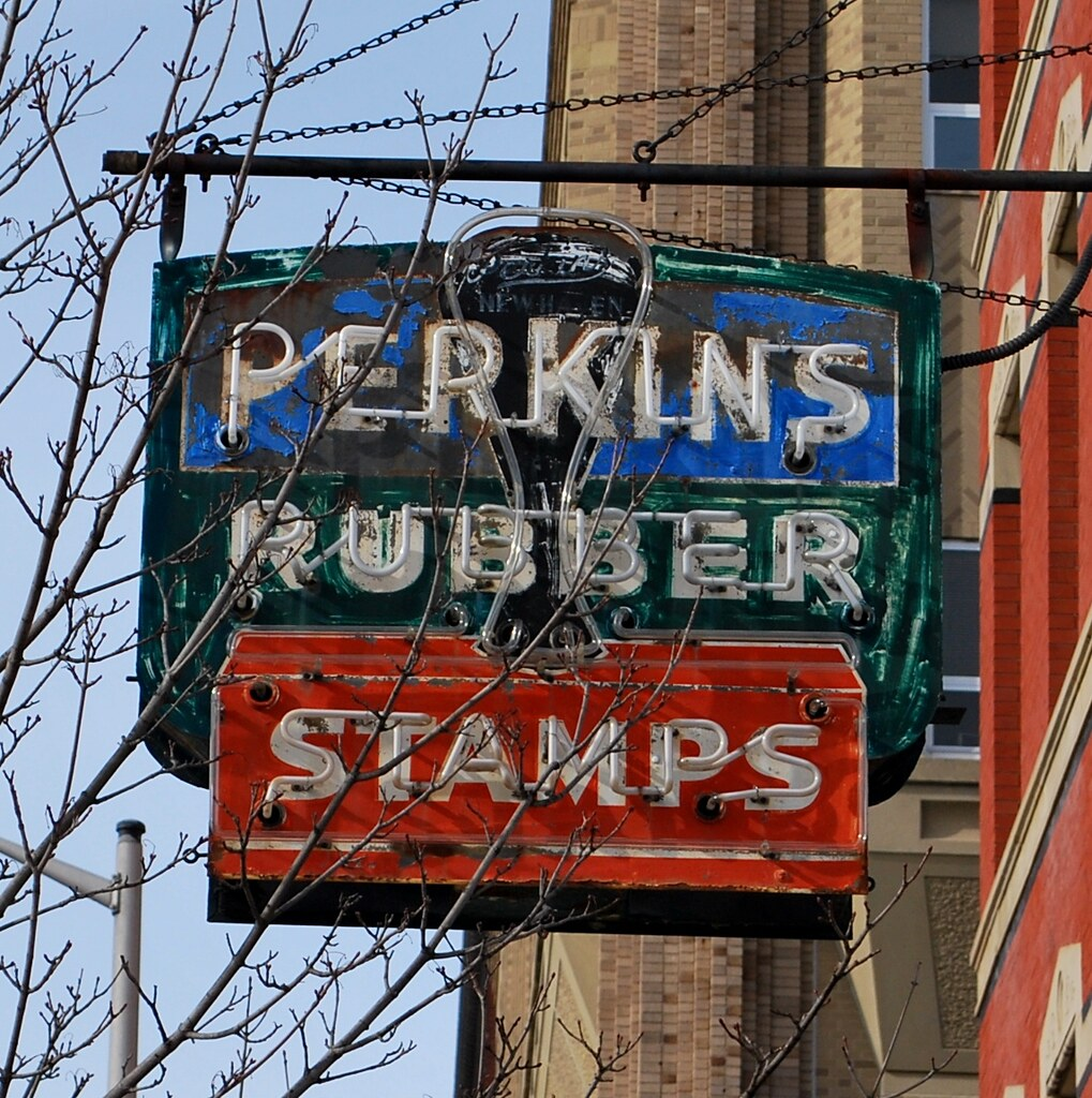 Perkins Rubber Stamps neon sign, New Haven, CT