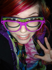 Six eyed weirdo (Megan is me...) Tags: blue original portrait orange green apple colors fashion rose self hair photography grey glasses spring amazing cool eyes colorful neon pretty ray colours russell mckay bright turquoise unique oneofakind ooak awesome meg violet plum megan style jerome mandarin colored dye ban mayhem punky dyed napalm specialeffects sfx rosered megface meganisme meganyourface