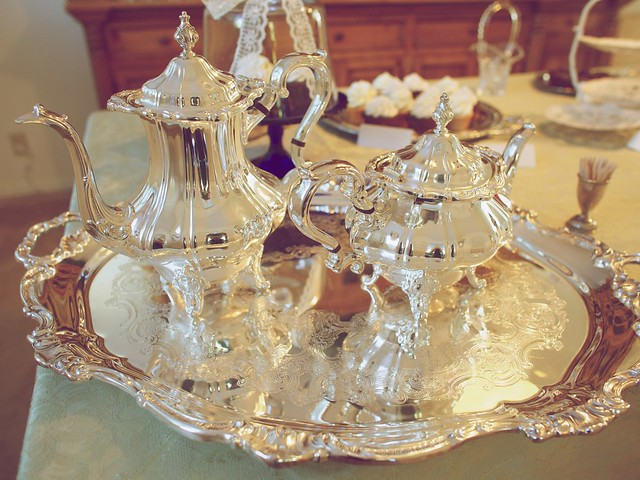 beautiful silver tea set