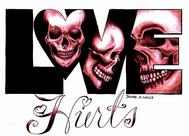 """Love Hurts"" Tattoo Design by Denise A. Wells"
