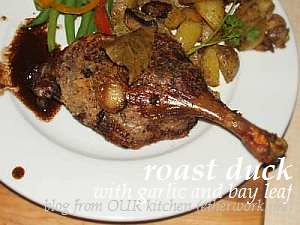 roasted duck leg with garlic and bay laurel (WHB)