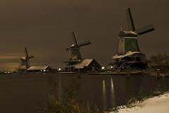 "windmills of the ""Zaanse Schans"" (Marco Sombroek) Tags: winter snow night nacht sneeuw windmills zaanseschans zaandam molens zaan zaanstreek zaandijk"