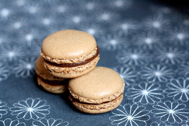 Espresso macarons filled with dark chocolate ganache
