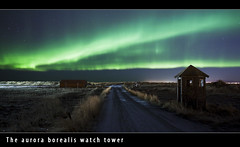 The aurora borealis watch tower (Arnar Bergur) Tags: road green tower grass turn lights iceland aurora citylights gras northern sland borealis 24mm14l canoneos5d norurljs vegur grnn visipix