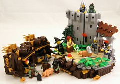 Pigs (Bart De Dobbelaer) Tags: castle pig lego fantasy vignette guardtower minion witchsquest
