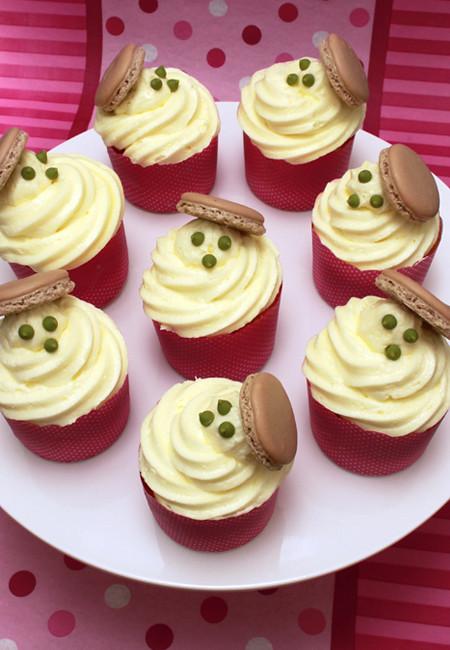 Macaron on cupcake