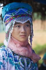 Beauty (chatursunil) Tags: blue flower girl market tribal vietnam ornate sapa hmong cocly