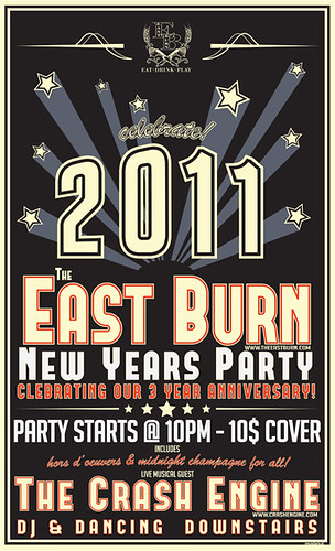 December 31: New Years Party With The Crash Engine @ East Burn | Free Champagne & Appetizers