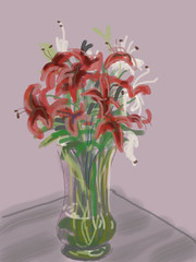 "My iPad drawing - number 7 ""vase on my coffee table"""